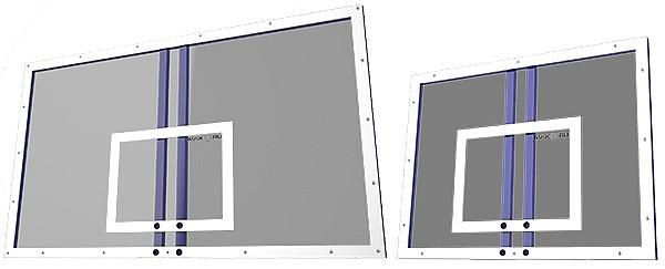 Визуальное сравнение размеров игрового и тренировочного щитов